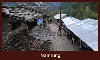 Namrung, a lovely village in the Annapurna region of Nepal characterized by the stone houses.