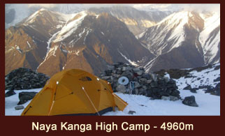 Naya Kanga High Camp (4960m), in the Langtang region of Nepal offers spectacular views of the Nepal and Tibet side Himalayas.