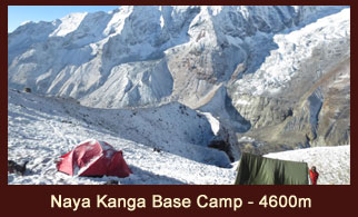 Naya Kanga Base Camp (4600m), is located in the Langtang region of Nepal and has a very sparse vegetation.