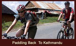 Biking in Nepal from Nagarkot to Kathmandu.
