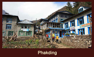 Phakding, a settlement in the Dudh Kosi river valley of Everest region, Nepal.
