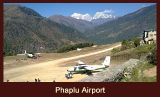 A small airstrip in Phaplu, a town in the Solukhumbu district of Nepal.