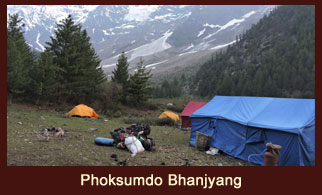 Phoksumdo Bhanjyang also known as the 'Snowfields Camp', in the far western region of Nepal.