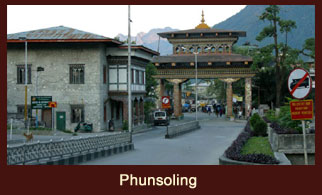 Phunsoling, a border town in southern Bhutan and the administrative seat of Chukha district.