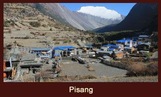 Pisang, a Tibetan themed village in the Annapurna region of Nepal.