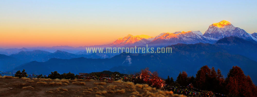 Poon Hill, an exclusive vantage point in the Annapurna region, that offers stunning views of the Annapurna Range (Mt.Dhaulagiri, Mt. Annapurna South, Mt. Annapurna I, Mt. Fishtail etc.).