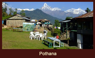 Pothana, bustling village in the Annapurna region of Nepal, dotted with plenty of tea houses.