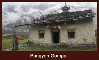 Pungyen Gompa, a monastery located in the remote mountain valley of Annapurna region.