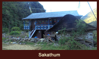 Sakathum, a small village cum a campsite in the Kanchenjunga region of Nepal.