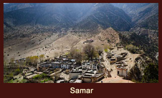 Samar, a village in the Annapurna region of Nepal where mules and horses caravans can be witnessed.