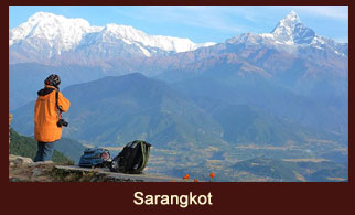 Sarangkot, a picturesque hill station near Pokhara, Nepal, especially known for its marvelous sunrise and sunset views.