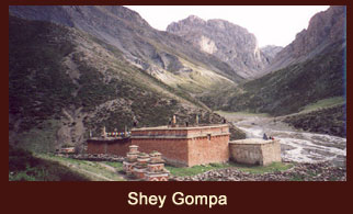 The enigmatic 'Shey Gompa (4390m) ' lies in the inner Dolpo (far western region, Nepal), behind the high pass that divides Tarap Valley.