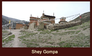 Shey Gompa (4390m), an ancient monastery in the far western region of Nepal, which also happens to be the trekkers' favored campsite.