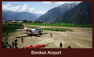 Simikot Airport is located in the Humla district of Nepal.