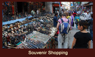 Thamel, a popular spot for souvenir shopping in Kathmandu, Nepal.