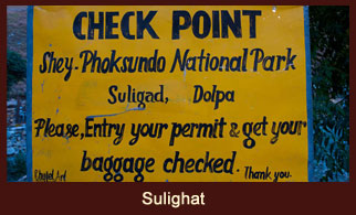 Sulighat, the entrance of Shey Phoksumdo National Park and its buffer zone, Nepal's largest park (3555 square km), established in 1984.