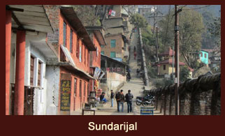 The stone staircase at Sundarijal, Nepal, that leads to the Shivapuri National Park.