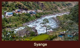 Syange, the starting point of the Annapurna Round & Mustang Trek in the Annapurna region of Nepal