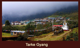 Tarke Gyang, a village in the Langtang region of Nepal characterized by cluttered houses and congested cobbled lanes.