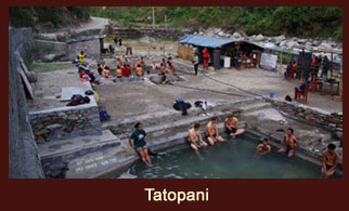 Tatopani, a natural geotharmal hotspring in the Annapurna region of Nepal, regarded as one of the most popular tourist attractions.