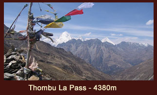 Thombu La Pass (4380m) in Bhutan offers great views of Bhutan side mountains, including the Mt. Kanchenjunga.