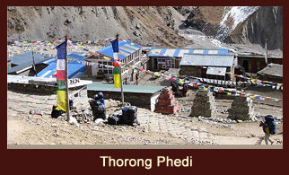 Thorong Phedi, the base of the highest mountain pass, Thorong La in the Annapurna region of Nepal.