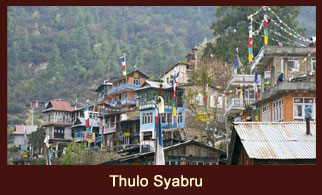 Thulo Syabru, a busy settlement in the Langtang region of Nepal, offering some great views of the Langtang Himalayas as well the peaks across the Tibet border.