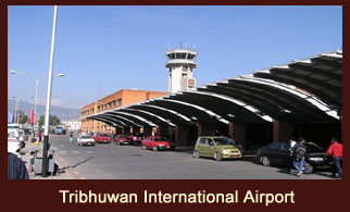 Tribhuwan International Airport, Kathmandu, the only international airport in Nepal.