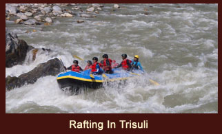 Trisuli River, one of the prime destinations for white water rafting in Nepal.
