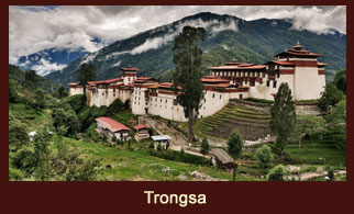 The magnificent Dzong at Trongsa marks the border between East and West Bhutan.