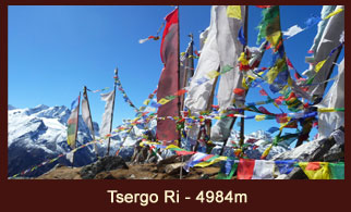 Tsergo Ri (4984m), one of the most frequently ascended ridges in the Langtang region of Nepal.
