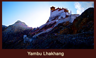 Yambu Lhakang, unique castle in the Yarlung Valley of Tibet that used to be the abode of the former Yarlung Kings.