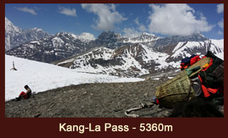 Kang La Pass (5360m), a challenging high elevation mountain pass in the far western region of Nepal.